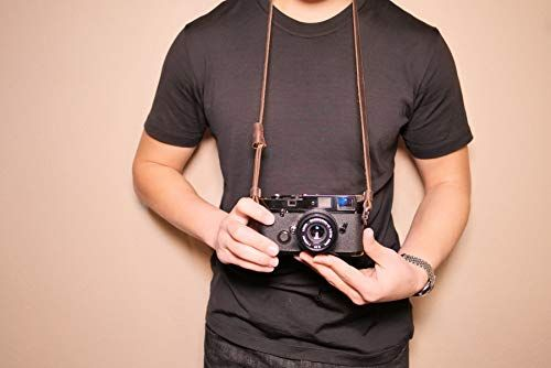 7 inch 12mm wide Hand Made Black Leather Camera Wrist Strap